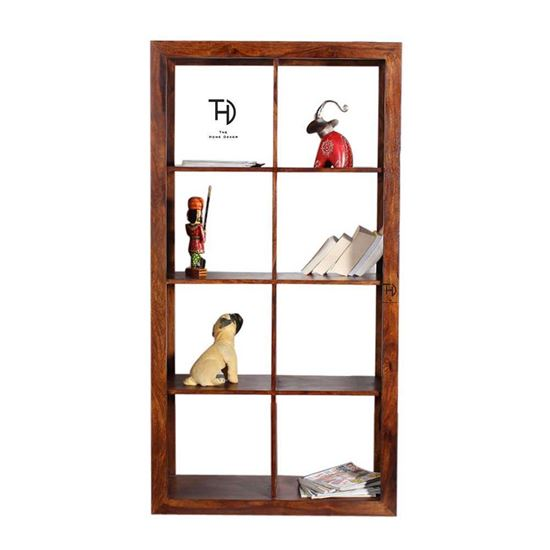 Buy Wooden Furniture Online Alpha Design Bookcase cum Room Divided in Honey Finish