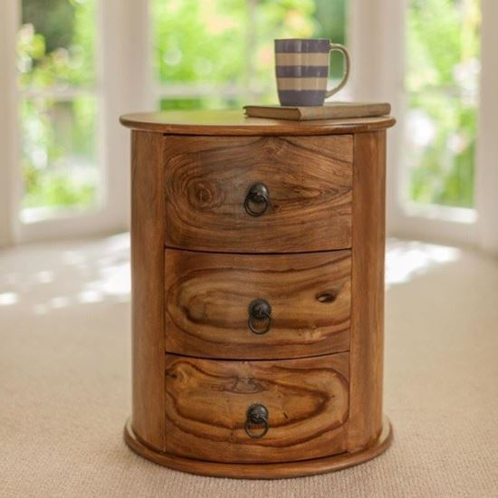 buy solid wood sheesham furniture Acropolis round side end table