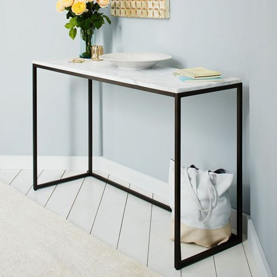 Buy Best Furniture Online Adam Industrial Console table with Marble Top
