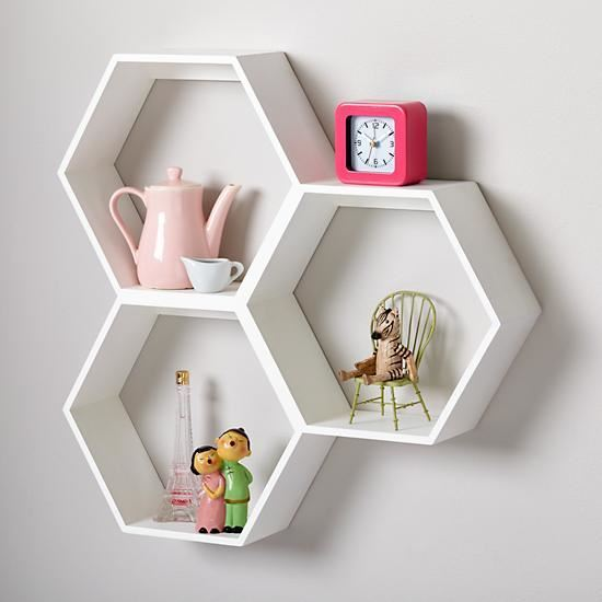 Hexagon wall rack white for home decor