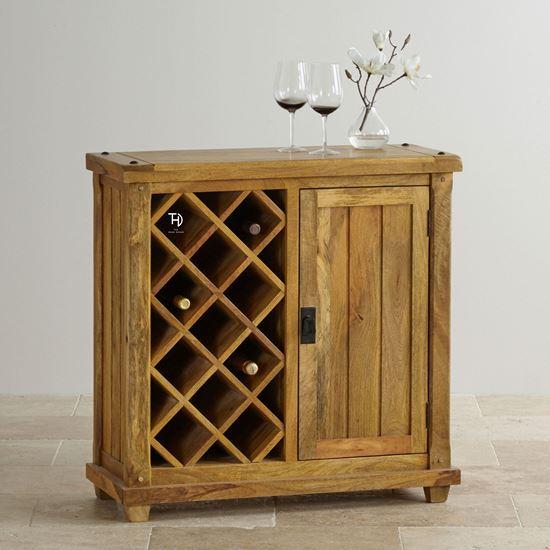 Devi solid wood bar cabinet for bar furniture
