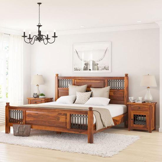 Vintage bed in solid sheesham wood online