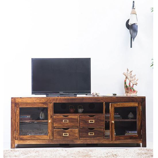 Buy 2 Door 4 Drawer and one open shelf Tv Cabinet for Living room furniture