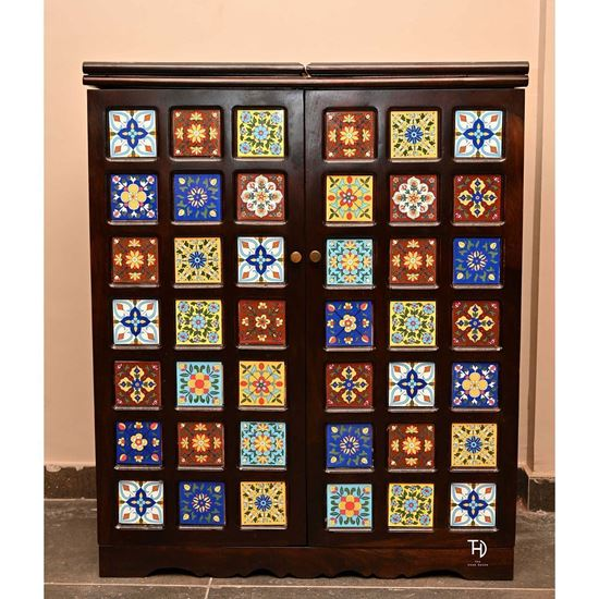 Buy Siramika Bar Cabinet with asorted ceramic tile for bar room furniture