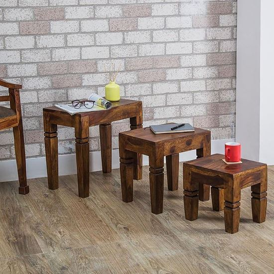 Buy Altura Nesting Table Set of 3 pcs in Provinical finish for living room furniture