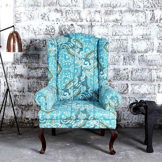Buy Maharaja Sofa in Blue Pejali Fabric