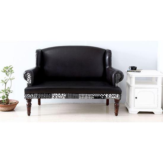 Buy Maharani Sofa in Ragzine and Brasso Fabric for living room furniture