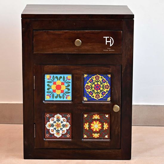 Buy Solid Wood Furniture Online McCindy Bedside table with ceramic tile in door