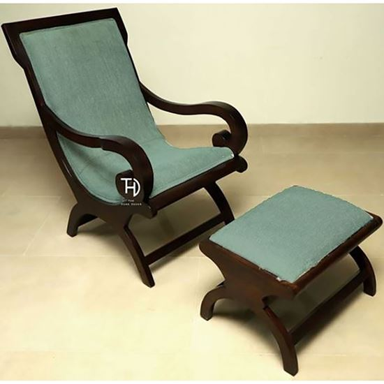 Buy Rambo Relax chair with stool Green for living room furniture