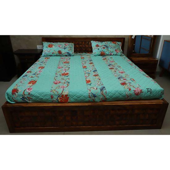 Buy Solid Sheesham Wood Tile Bed box Online