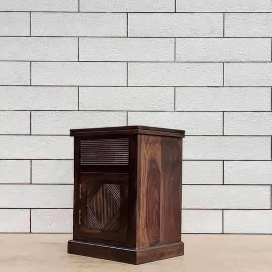 Buy Sheesham Furniture Online Group solid wood bedside table in walnut finish